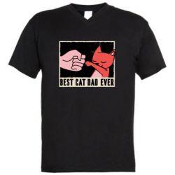 Мужская футболка  с V-образным вырезом Best cat dad ever