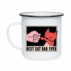 Кружка эмалированная Best cat dad ever