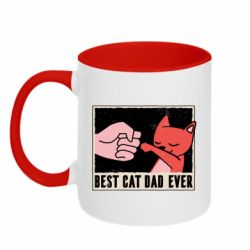 Кружка двухцветная 320ml Best cat dad ever