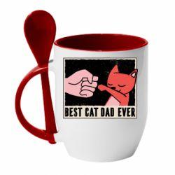 Кружка с керамической ложкой Best cat dad ever