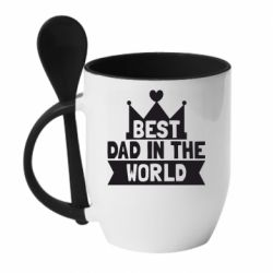 Кружка с керамической ложкой Best dad in the world