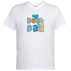 Мужская футболка  с V-образным вырезом Best Dad - FatLine