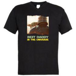 Чоловіча футболка з V-подібним вирізом Best daddy mandalorian