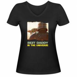 Жіноча футболка з V-подібним вирізом Best daddy mandalorian