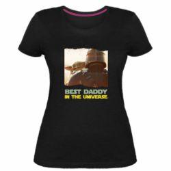 Жіноча стрейчева футболка Best daddy mandalorian