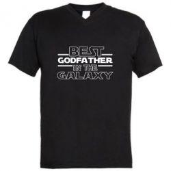 Чоловіча футболка з V-подібним вирізом Best godfather in the galaxy