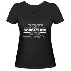 Жіноча футболка з V-подібним вирізом Best godfather in the galaxy