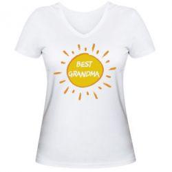 Женская футболка с V-образным вырезом Best Grandma