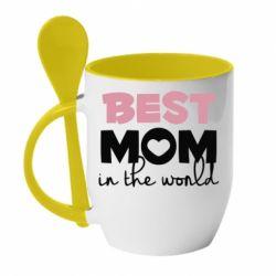 Кружка з керамічною ложкою Best mom