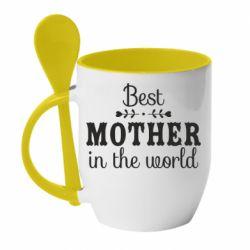 Кружка з керамічною ложкою Best mother in the world