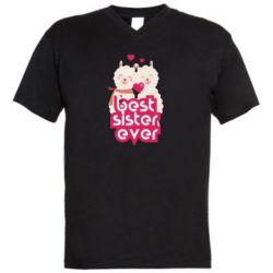 Чоловіча футболка з V-подібним вирізом Best sister ever