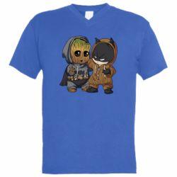 Мужская футболка  с V-образным вырезом Бэтмен и грут