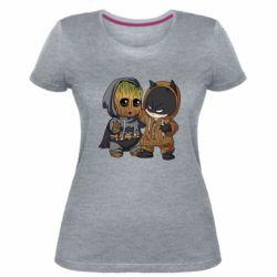 Женская стрейчевая футболка Бэтмен и грут
