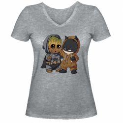 Женская футболка с V-образным вырезом Бэтмен и грут
