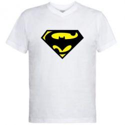 Мужская футболка  с V-образным вырезом БэтСупермен - FatLine