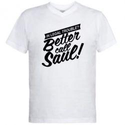Мужская футболка  с V-образным вырезом Better call Saul! - FatLine