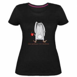 Женская стрейчевая футболка Без эспрессо я в депресо