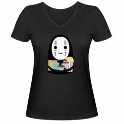 Жіноча футболка з V-подібним вирізом Безликий з вкусняшками