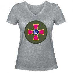 Женская футболка с V-образным вырезом Безпека Військової Служби