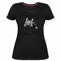 Жіноча стрейчева футболка Беззубик в кишені