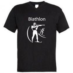 Мужская футболка  с V-образным вырезом Biathlon - FatLine