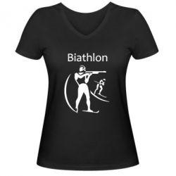 Женская футболка с V-образным вырезом Biathlon - FatLine