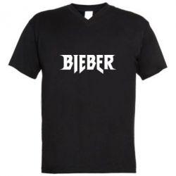 Мужская футболка  с V-образным вырезом Bieber