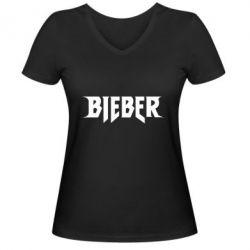 Женская футболка с V-образным вырезом Bieber