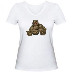 Женская футболка с V-образным вырезом Big Bear - FatLine