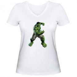 Женская футболка с V-образным вырезом Big Hulk - FatLine