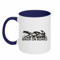 Кружка двухцветная 320ml Biker on board