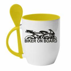 Кружка с керамической ложкой Biker on board