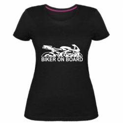 Женская стрейчевая футболка Biker on board