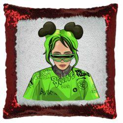 Подушка-хамелеон Billie Eilish green style