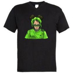 Чоловіча футболка з V-подібним вирізом Billie Eilish green style