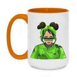 Кружка двоколірна 420ml Billie Eilish green style