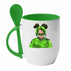 Кружка з керамічною ложкою Billie Eilish green style