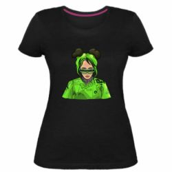 Жіноча стрейчева футболка Billie Eilish green style