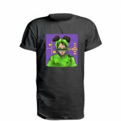 Удлиненная футболка Billy Eilish on purple background