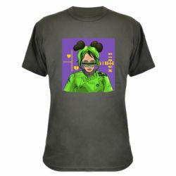 Камуфляжная футболка Billy Eilish on purple background