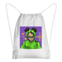 Рюкзак-мешок Billy Eilish on purple background