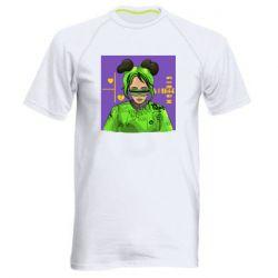 Мужская спортивная футболка Billy Eilish on purple background