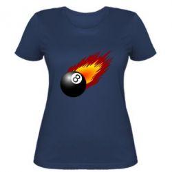 Женская футболка Бильярдный шар в огне