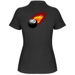 Женская футболка поло Бильярдный шар в огне