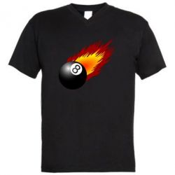 Мужская футболка  с V-образным вырезом Бильярдный шар в огне