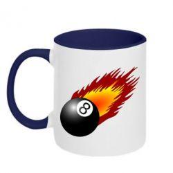 Кружка двухцветная 320ml Бильярдный шар в огне