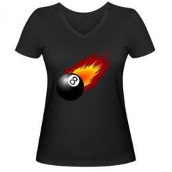 Женская футболка с V-образным вырезом Бильярдный шар в огне