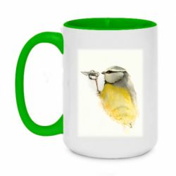 Кружка двоколірна 420ml Bird drawings with a knife