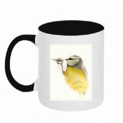 Кружка двоколірна 320ml Bird drawings with a knife
