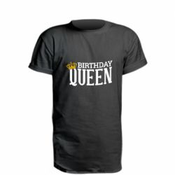 Удлиненная футболка Birthday queen and crown yellow